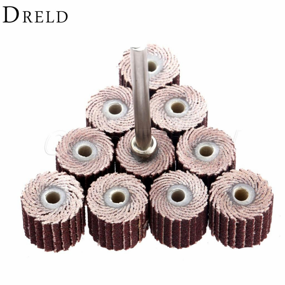 DRELD 10Pcs Dremel Accessories 240-Grit Sanding Flap Disc Grinding Sanding Flap Wheels Brush Sand Rotary Tool 10 X 10x 3mm
