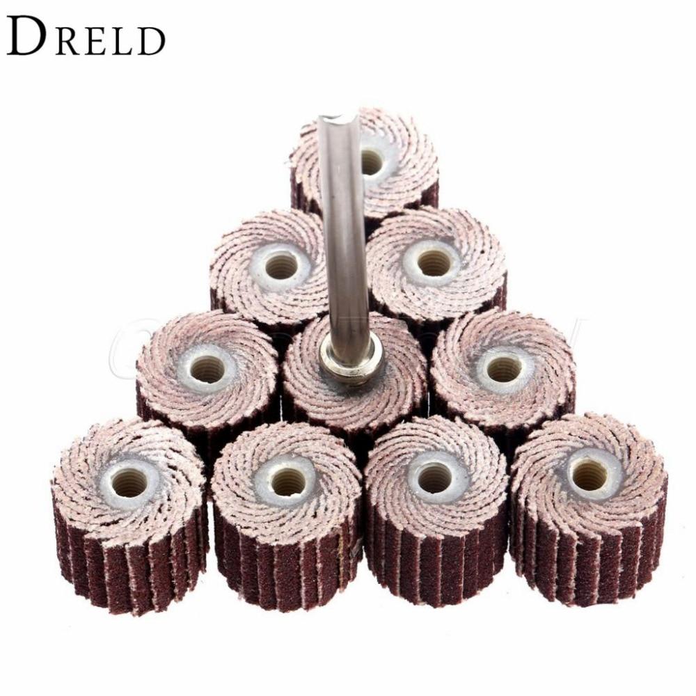 DRELD 10Pcs Dremel Accessories 240-Grit Sanding Flap Disc Grinding Sanding Flap Wheels Brush Sand Rotary Tool 10 X 10x 3mm