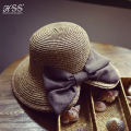 Summer New Women's Sun Foldable Wide Hat Black Bowknot Ribbon Flanging Straw Hat Beach Caps Head Circumference 56-58 cm