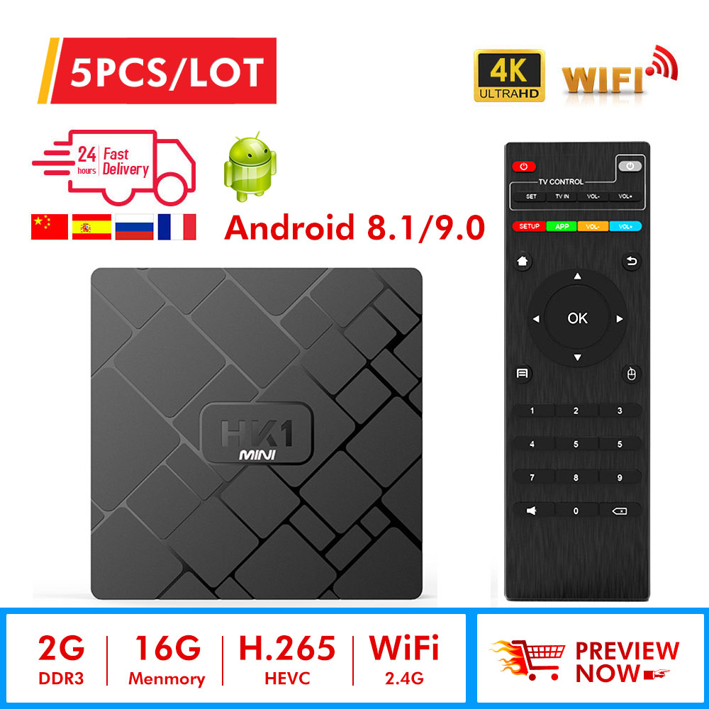 5pcs lot HK1 mini Smart TV BOX Android 8 1 9 0 RK3229 Quad Core WIFI