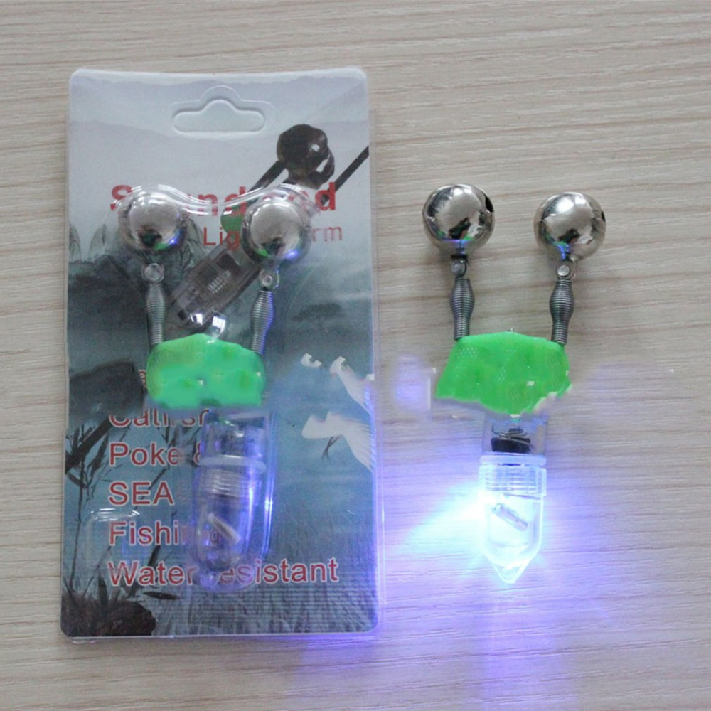 2019 NEW LED Flash Light Night Electronic Fishing Bite Alarm Finder Lamp Double Twin Bells Tip Clip On Fishing Rod Tackle Hot