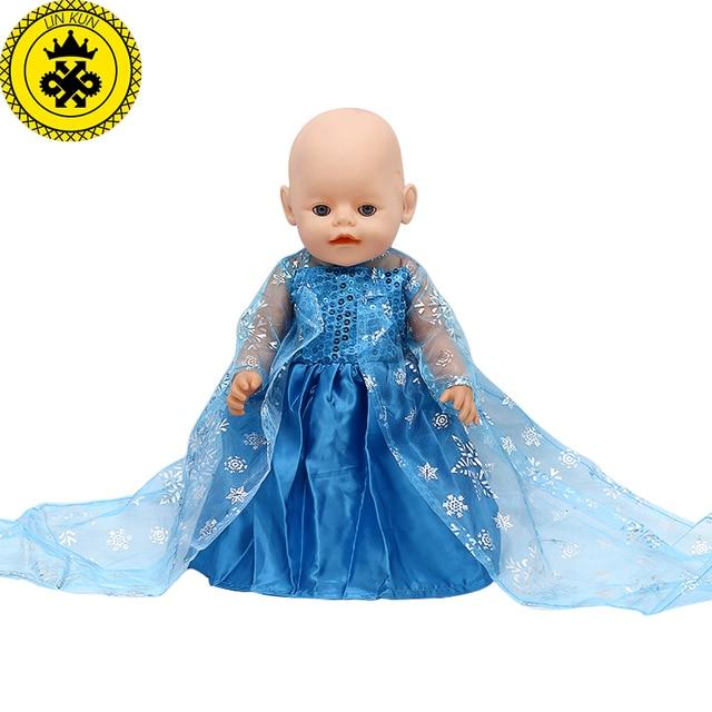 baby born puppe kleidung elsa prinzessin blaue spitze. Black Bedroom Furniture Sets. Home Design Ideas