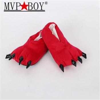Zapatillas Mvp para niños y adultos, zapatillas de interior de felpa para mujer, divertidas zapatillas con garras de Animal, garras de monstruo, Zapatillas de algodón, zapatillas de color rosa y rojo