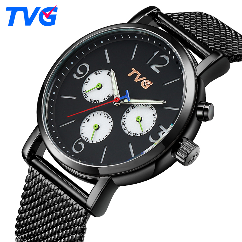Men Quartz Watches 2016 TVG Brand Male Fashion Casual stainless steel waterproof Analog wristwatch Business Quartz-watch relogio