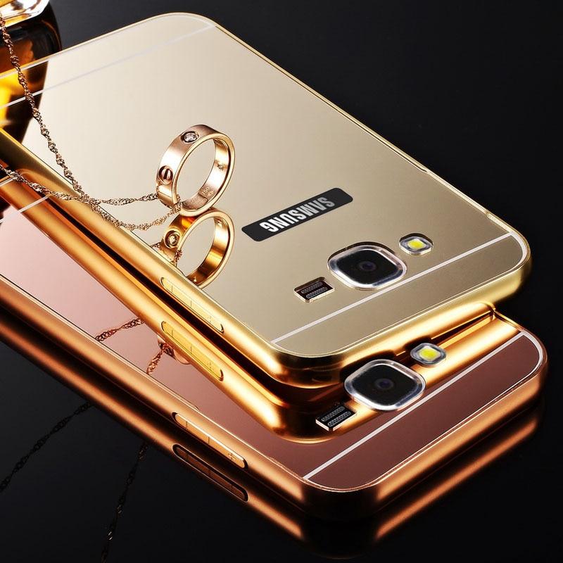 sale retailer cfba6 03dff US $6.65 |J5 Gold Plating Aluminum Metal Frame Case For Samsung Galaxy J5  Mirror Acrylic Back Cover Fundas Capa Luxury Coque Anti knock on ...