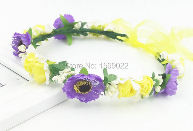 ce35223db1e Bohemia Handmade Cherry Blossom Flower Girl Flower Crown with Ribbon Bridal  Headpiece Wedding DIY Hair Accessories Purple Yellow