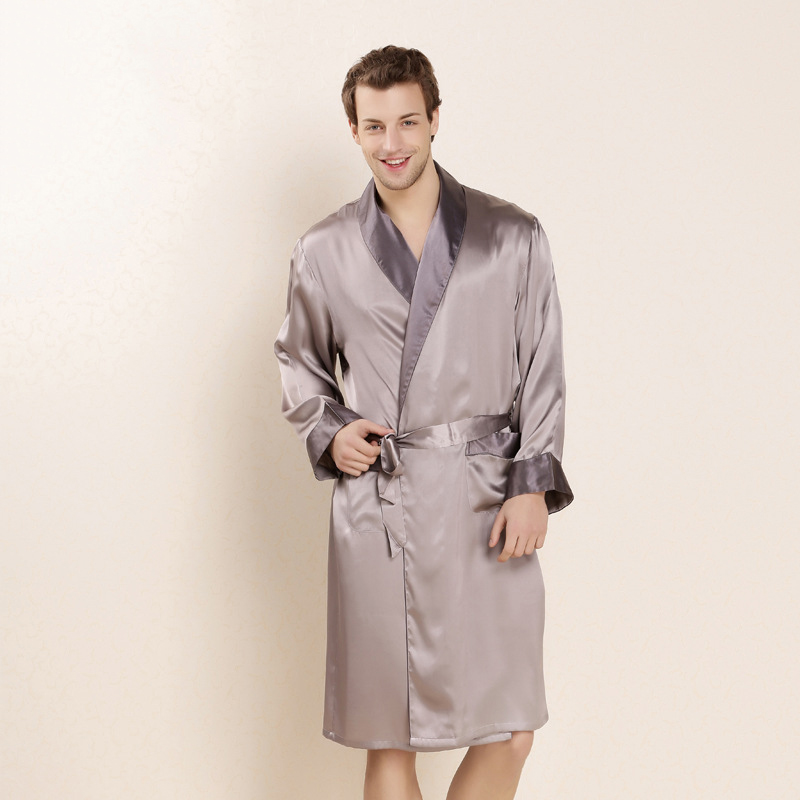 CEARPION New Men Summer Silk Robe Elegant Solid Long Sleeve Kimono Bathrobe Gown Casual Home Clothes Male SPA Sleep Wear