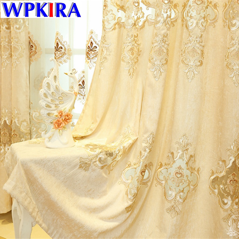 Embroidered Curtain Noble Window Panel Decoration Pour Salon Luxury Blackout Curtain Embroidered Tulle Designs For Windows