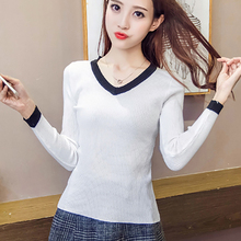 shintimes V-Neck Korean Style Women Sweater Slim High Elastic Black Solid Winter Fashion Pullovers Sueter Mujer Invierno 2019