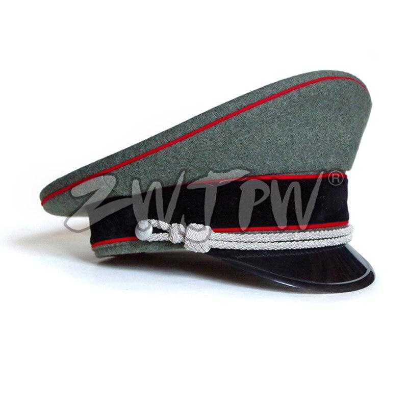 WW2 armée casquettes DE collection Greyish-vert officier grands chapeaux à bords rouge jante tissu DE laine/401138