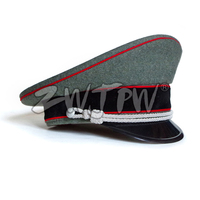 WW2 Army Caps Collectibles Greyish green Officer Large Brimmed Hats Red Rim Woolen Cloth DE/401138