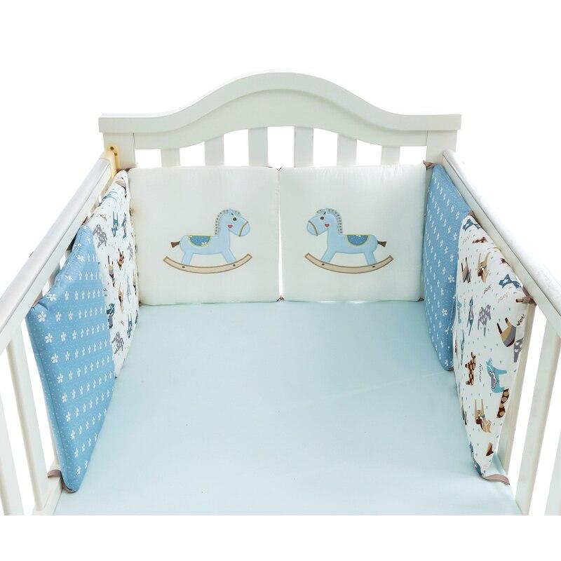 6 Stks/set Baby Bed Bumper Kussen Katoen Houten Paard Baby Wieg Bumper Zachte Baby Beddengoed Rond Protector Katoen Wieg Bumper