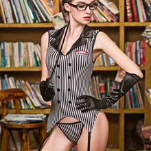 JSY Classical Vertical Stripe V Neck Sexy Women Role Play Costumes Teacher uniforms outfit female halloween cosplay costume 9617 sexy lingerie erotic seductive teacher cosplay costumes sexy teacher role play dress erotic halloween costumes