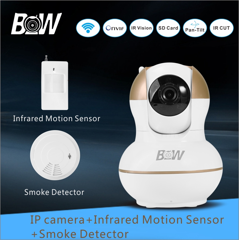 Surveillance Security Camera WiFi IP Camera 720P Wireless P2P + Infrared Motion Sensor +Smoke Detector For Android iOS