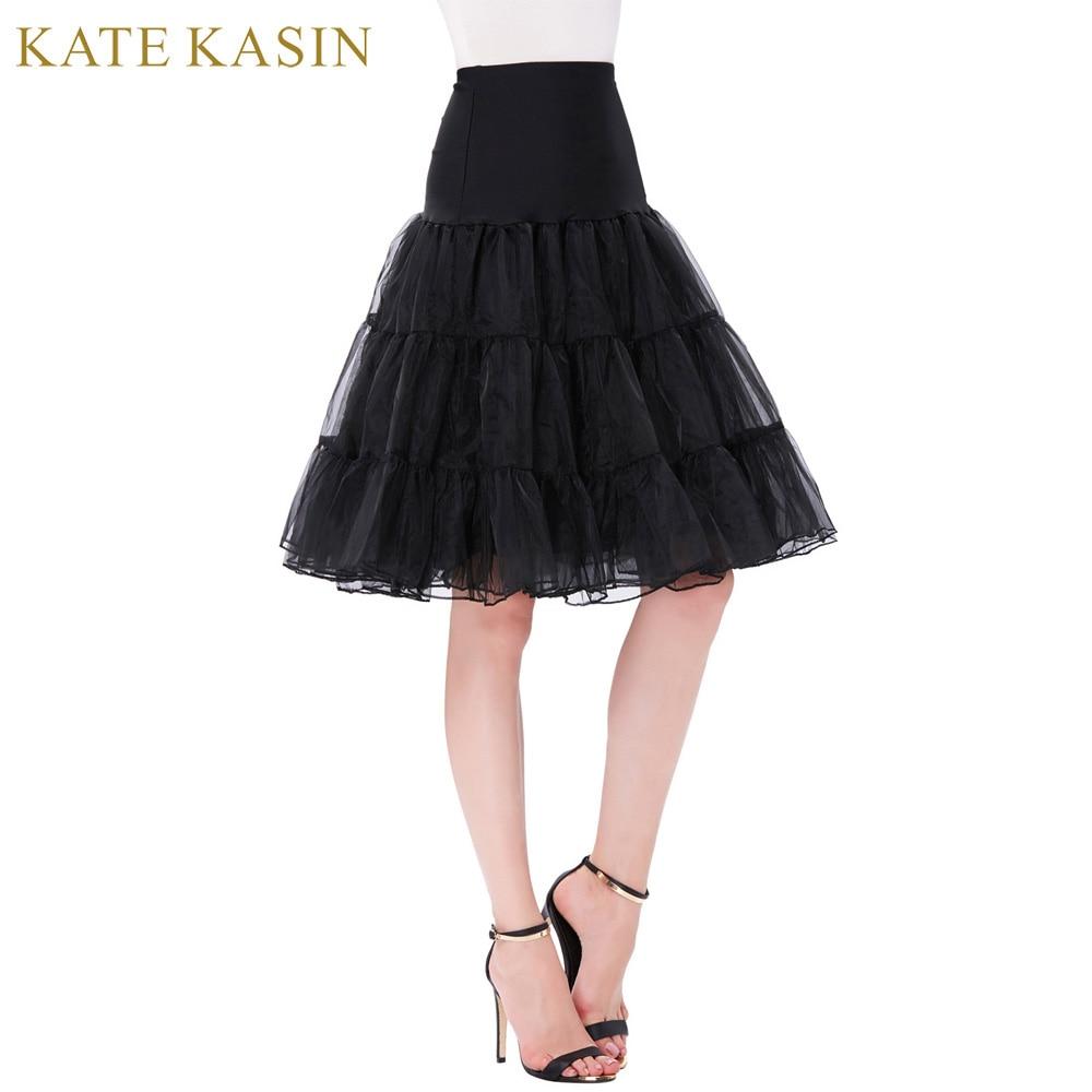 Kate Kasin Fluffy Underskirt Ball Gown Tutu for Swing Rockabilly Wedding Petticoat High Waist Short Pettiskirt