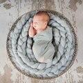 2017 Nova Pure mão-Tecido Cobertor Do Bebê Xadrez Xadrez Trança Trança Fille Adereços Fotografia Bebê Recém-nascido Adereços Fotografia
