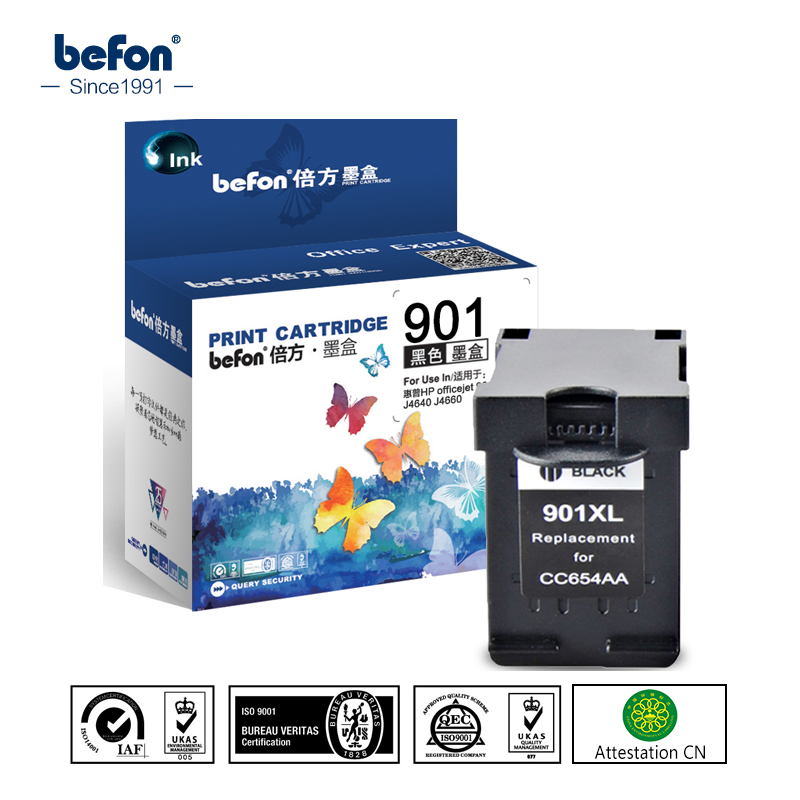 befon Re-manufactured 901XL Cartridge Replacement for HP 901 Black Cartridge for Officejet 4500 J4500 J4540 J4550 J4580 J4640