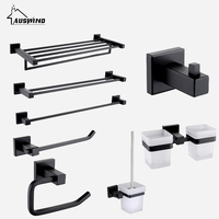 Modern 304 Stainless Steel Bathroom Accessories Sets Black Paint Towel Shelf Towel Bar Paper Holder Triangle Basket