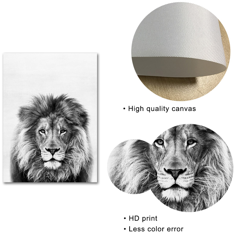 Black and White Canvas Painting Lion Prints Nursery Animal Poster Modern Wall Art Living Room Home Decoration in Painting Calligraphy from Home Garden