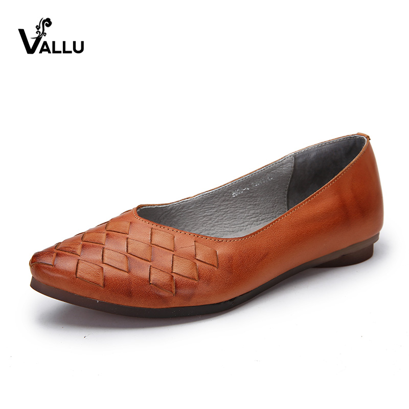 VALLU Spring Summer Women Flats Genuine Leather Pointed Toes Handmade Original Shoes Basic Women Ballerina Slip On Flat Shoes цена