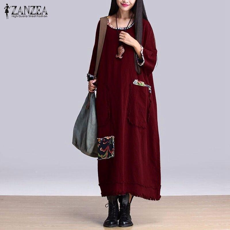 Women Vintage Elegant Dress 2016 Autumn ZANZEA O Neck 3/4 Sleeve Pockets Casual Loose Solid Maxi Long Dress Oversized Vestidos