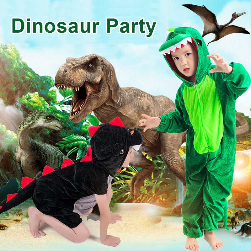Image 1 - Dinosaur Party Supplies Halloween Costume For Kids Animal Hooded Jumpsuit Dinosaur Costume Velvet Black/Green Cosplay Costume