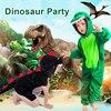 Dinosaur Party Supplies Halloween Costume For Kids Animal Hooded Jumpsuit Dinosaur Costume Velvet Black/Green Cosplay Costume