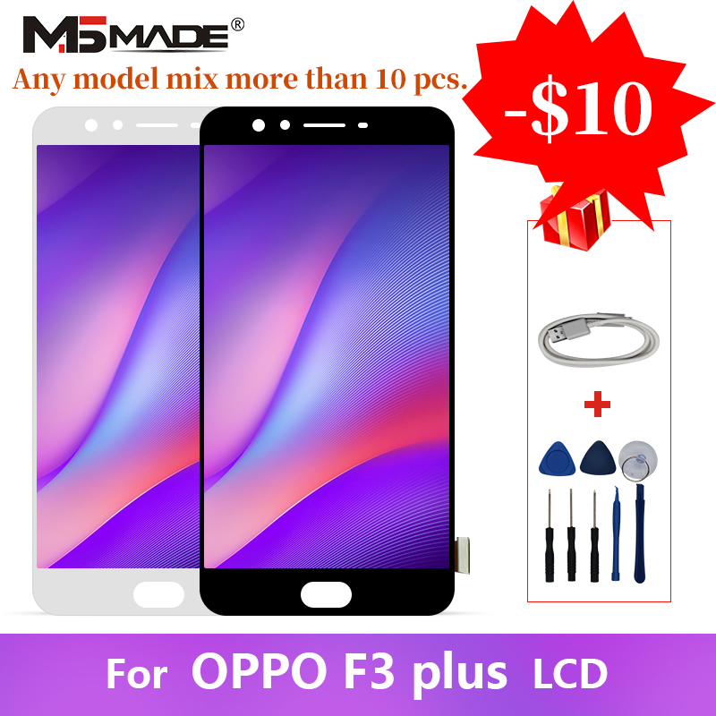 AAA Quality For OPPO F3 Plus LCD Touch Screen Digitizer Display Replacement Assembly Parts 6.0 With Frame 100% Tested