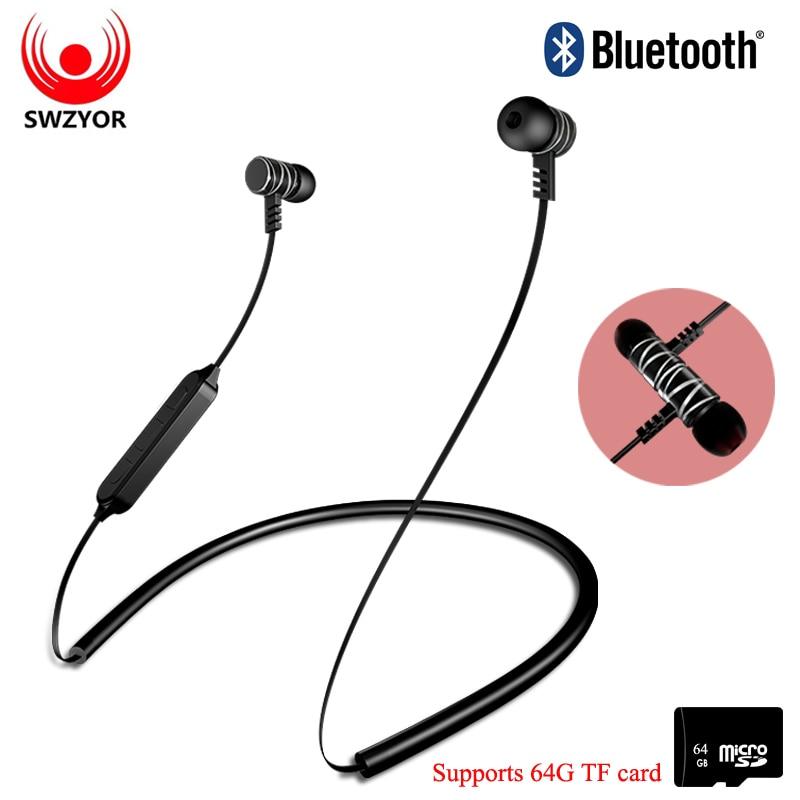 SWZYOR Bluetooth Earphone Sports Wireless Headphones Stereo Magnetic Blutooth Headset kulakl k for Xiaomi iPhone IOS Earphones