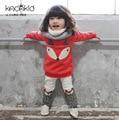 2016 Nuevo Invierno de La Muchacha Que Arropan el sistema Red Fox Lindo Parche Sudadera + Ticken Terciopelo Pan Deportes Chándal Ropa Del Cabrito Del Juego Del Bebé