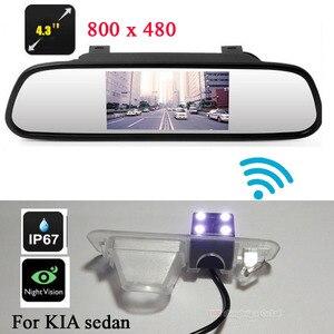 800x480 4.3 인치 자동차 비디오 컬러 미러 모니터 + 무선 hd ccd kia/rio sedan 백업 주차 용 후면보기 카메라 반전