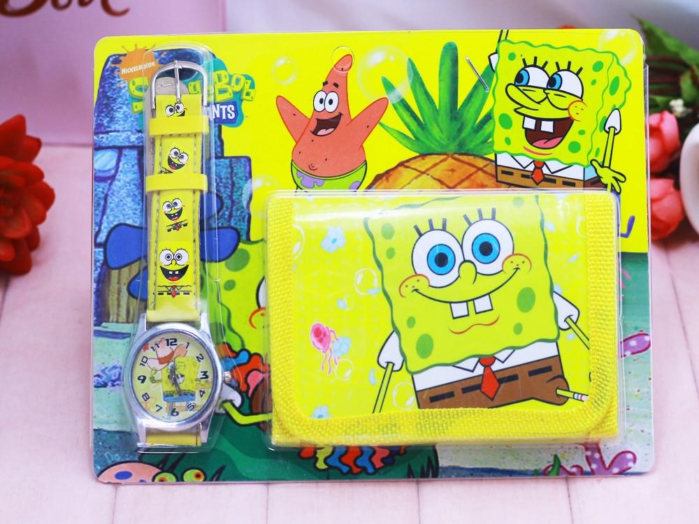 2018 New Cartoon Spongebob Kids Sets Watch And Wallet Purse Wrist Quartz Christmas Children Gift Cartoon Watcift Cartoon Watches