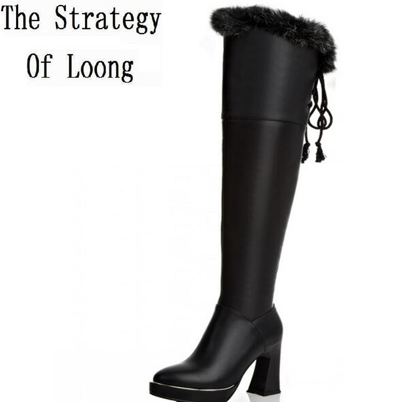 Women Winter Genuine Leather Round Toe Thick High Heel Rabbit Fur Fashion Over The Knee Boots Plus Size 33-43 SXQ1013 fashion slim rivets thick heel pointed toe zip winter snow boots genuine leather stretch fabric over the knee boots women boots