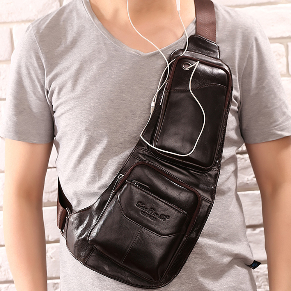 High Quality Men Genuine Leather Skin Messenger Shoulder Cross Body Bag Travel Male Sling Rucksack Back Chest Day Pack nordic led wall lamp contracted and contemporary artistic personality tv wall lamps the head of a bed lamp corridor lamp