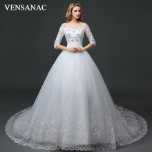 VENSANAC Crystal Boat Neck Bow Ball Gown Lace Wedding Dresses 2018 Sequined Appliques Half Sleeve Court Train Bridal Dress цены