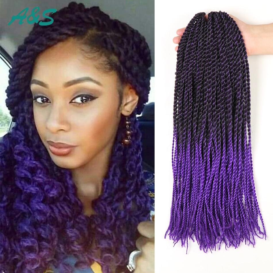 18 Inch 1B Purple Ombre Kanekalon Braiding Hair Crochet Braids Curly Twist Synthetic Box On Aliexpress