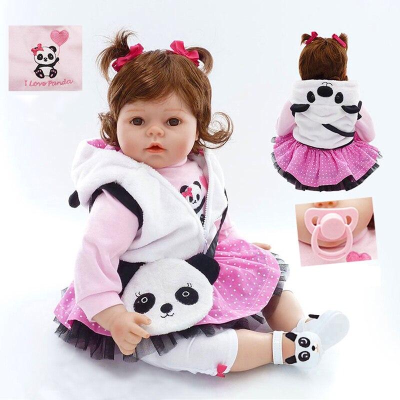 Nicery 20 pouces 50 cm Bebe Poupée Reborn Doux Silicone Garçon Fille Jouet Reborn Baby Doll Cadeau pour Enfants Blanc vêtements Panda Bébé Poupée