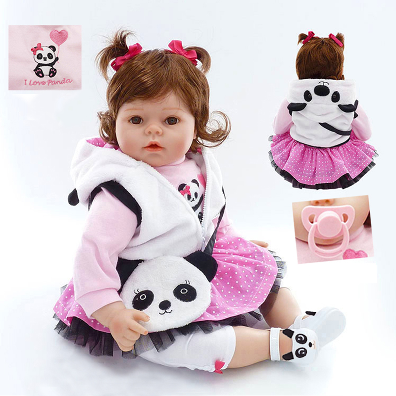 Nicery 20inch 50cm Bebe Doll Reborn Soft Silicone Boy Girl Toy Reborn Baby Doll Gift for Children White Clothes Panda Baby Doll nicery 18inch 45cm reborn baby doll magnetic mouth soft silicone lifelike girl toy gift for children christmas pink hat close