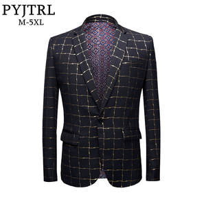 PYJTRL Men Gold Slim Fit Male Casual Suits Jacket Costume