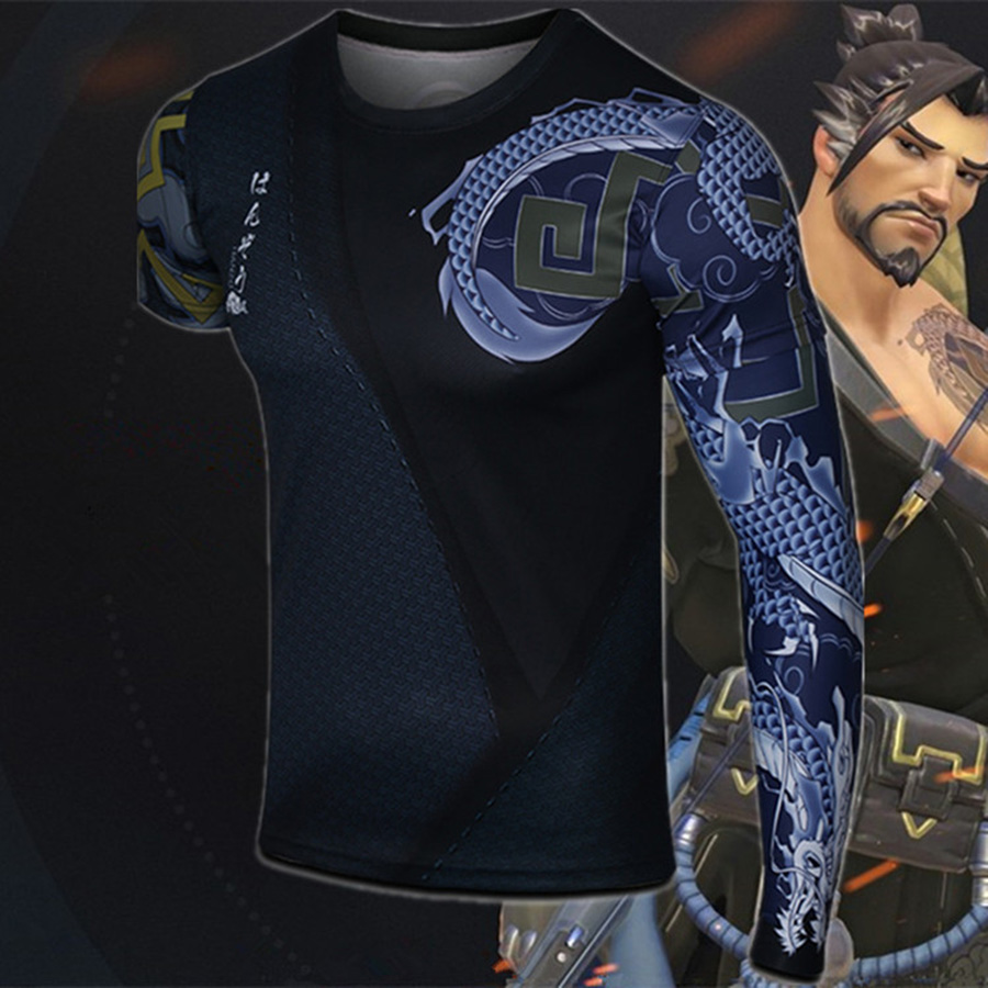 Game <font><b>Ow</b></font> Watch Over Tshirt Hanzo Cos Detachable Sleeve <font><b>T</b></font> <font><b>Shirt</b></font> Costume Cosplay Bodybuilding Clothes Half Sleeve Men <font><b>T</b></font>-<font><b>shirts</b></font> image