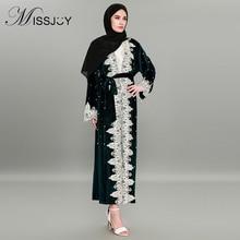 MISSJOY Fashion Kaftan Dubai Velvet Abaya  Muslim Dress Women Cardigan Beaded Robe Loose Lace Stitching 4XL Arabic Dresses 2018