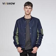 VIISHOW Bomber Jacket Men Winter Denim Blue Jean Jacket Mens Casual Patchwork Men s Jean Jacket