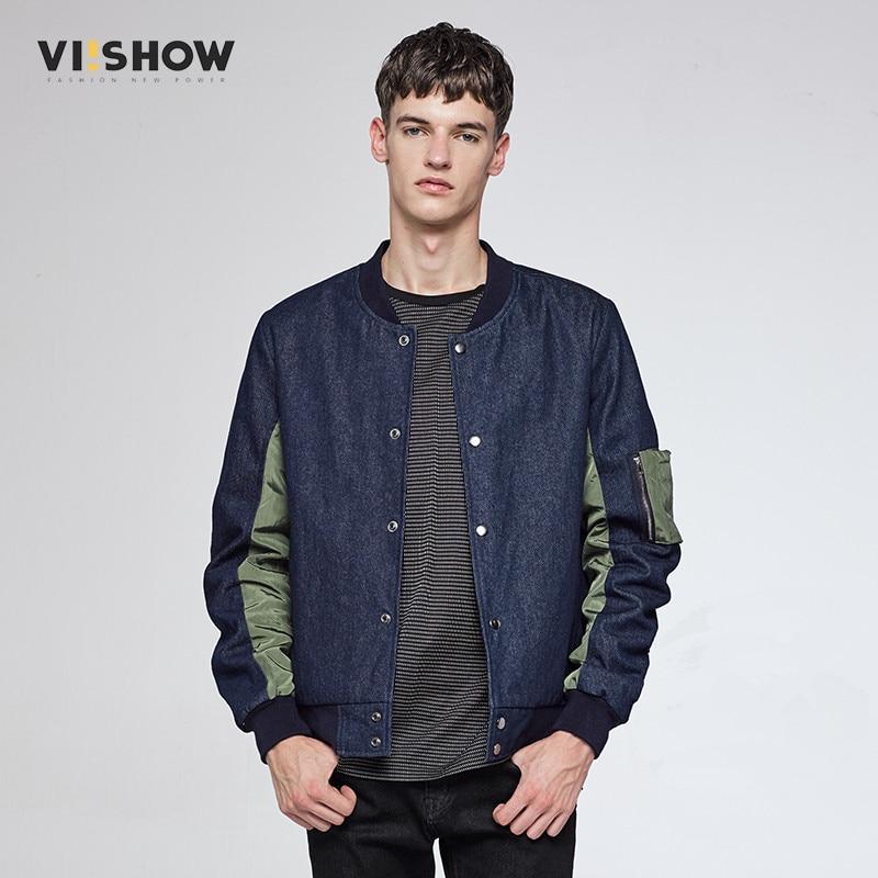 VIISHOW Bomber Jacket font b Men b font Winter Denim Blue font b Jean b font