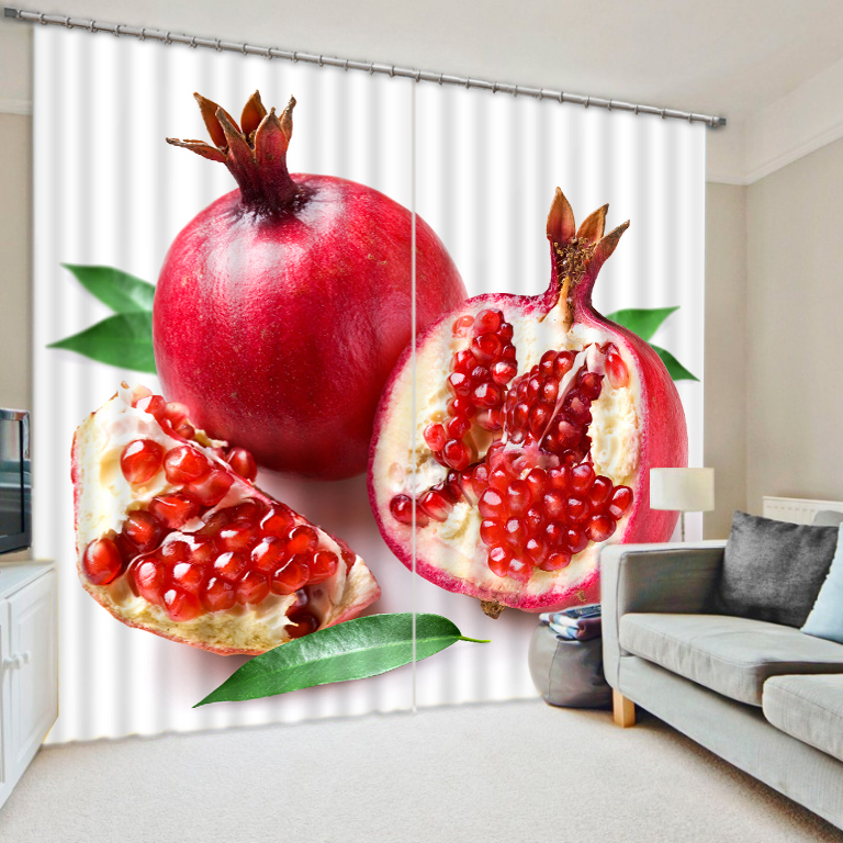Pomegranate fruit photo print personalized custom kitchen blackout curtains Digital 3D