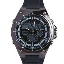 Evecico led двойной дисплей стол мужские часы спорт стальной ленты водонепроницаемый мужской смотреть электронные часы случайный старинные световой