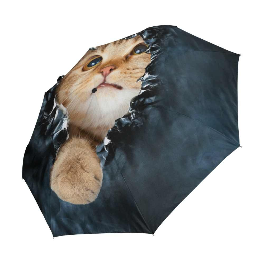 Marca genuína dobrável guarda-chuva chuva feminino preto qualidade automático sol guarda-chuvas anti uv gato bonito padrão protetor solar praia guarda-sol