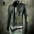 New men's Denim Jacket  Autumn And Spring Fashion Vintage Broken Hole Casual Biker Denim Jacket Coat For Men D33E0081
