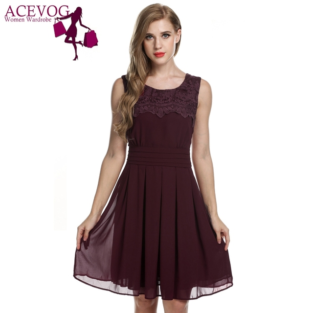ACEVOG Summer Lace dress 2017 New Arrival sexy vestidos Women black Chiffon  Casual Elegant Pleated Mini Dresses Feminino Robe b46a8f506
