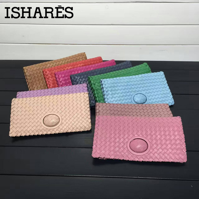ISHARES woven sheepskin day clutches genuine leather rotary switches casual clutch women handbags fashion cover closure IS6659