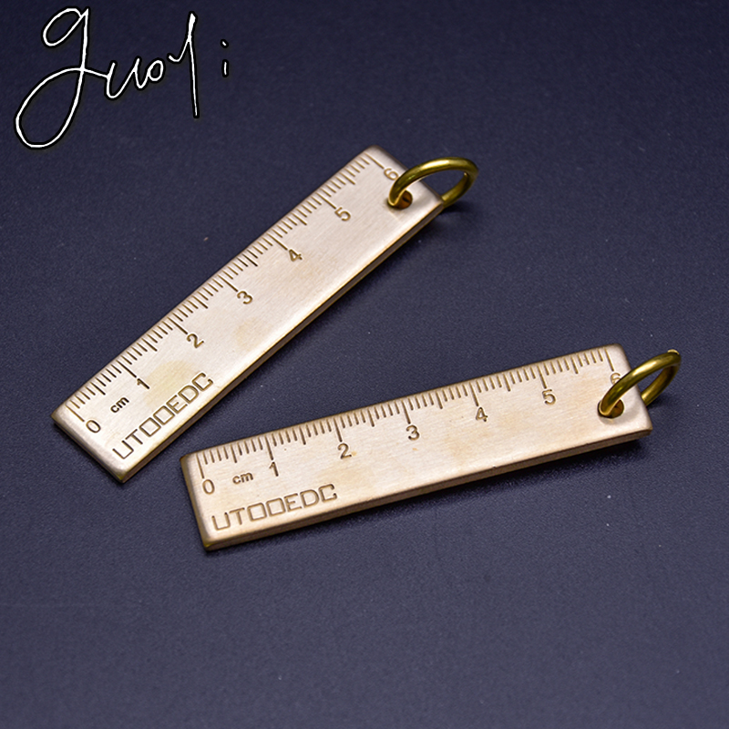 Guoyi A039 Copper Material Length 6cm Thick Mini Ruler Office & Used For School Stationery Education Supplies Measuring Tools
